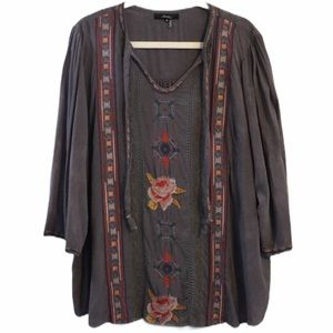 Andree by Unit Top Boho Embroidered Peasant 2X